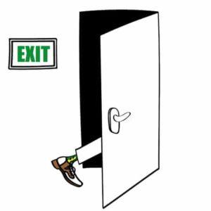 IT services salesman steps out the exit door